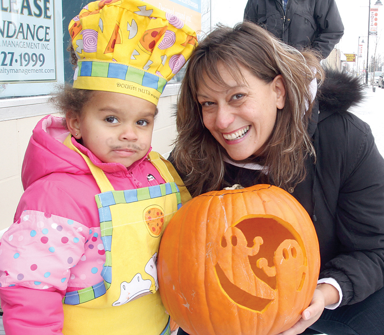 Ashlea Fisher-Hurdle and her mother Leanne FIsher dropped off a couple carved pumpkin to join the other jack-o'-lanterns at the Pumpkins on Parade in Innisfail on Saturday.