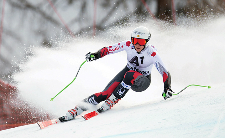 epa05095414 Larisa Yurkiw of Canada in action during the Women's Super G race at the FIS Alpine Skiing World Cup in Zauchensee