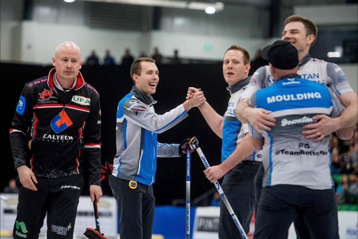 Skip Brendan Bottcher celebrates his victory over Team Koe in the men's final of the Humpty's Champions Cup in Saskatoon, Sask., on April 28, 2019. THE CANADIAN PRESS/Matt Smith